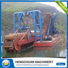 New Bucket Chain Excavating Gold Dredger / Small Sand Mining Gold Dredger