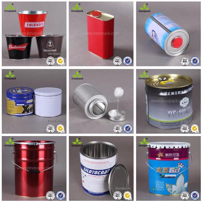 1.5l, 2.5l, 5L química branco balde de lata com alça e tampa