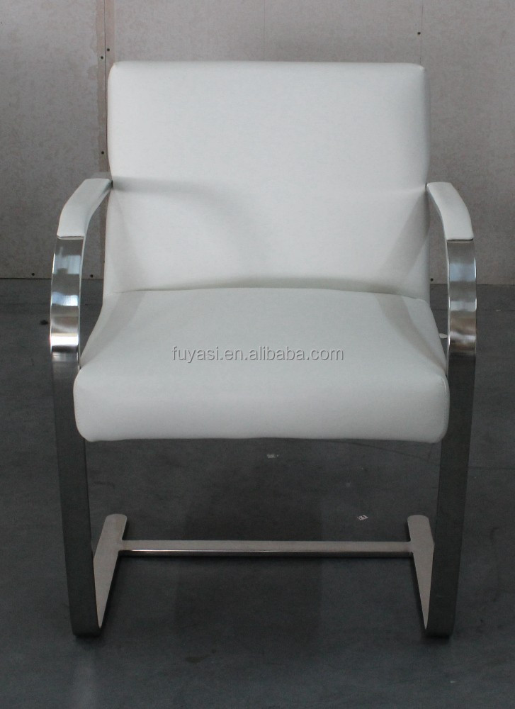 Stainless steel armrest white leather sofa design furniture industrial chair style vintage B05