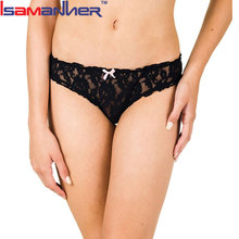 Sexy lady transparent t-back thong lace panties underwear for women