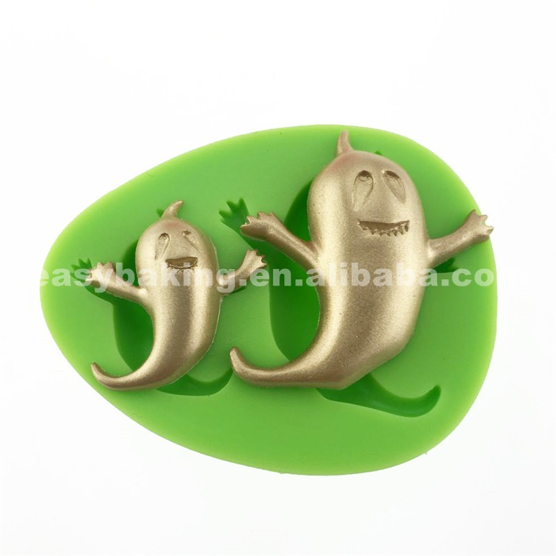 2 Cavity Phantoms Shaped Halloween Decoration Silicone Molds For Cake
