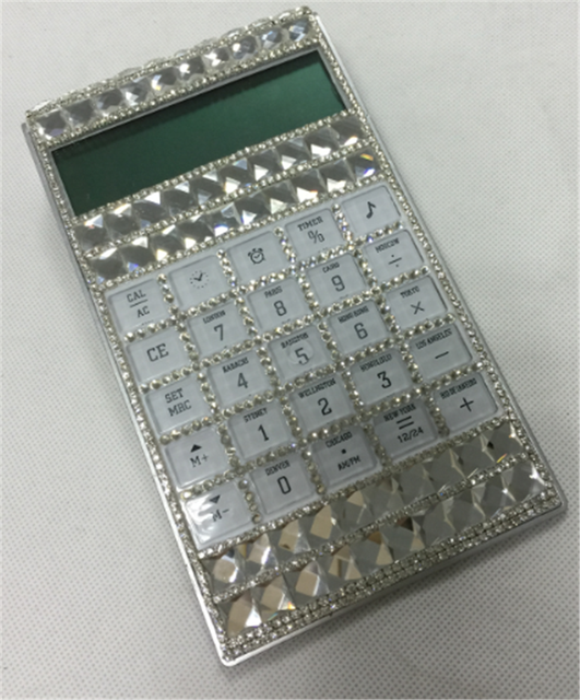 8 Digits Custom Crystal Bling Pocket Electronic Calculator with Time Clock