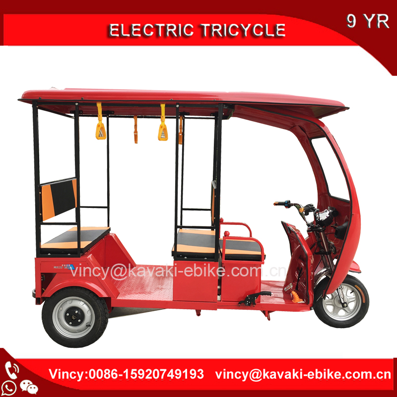 Kavaki Factory 1000W Three Wheel Electric Passenger Tricycle With roof 3 Wheel Auto Rickshaw For Sales Solar Panel Available