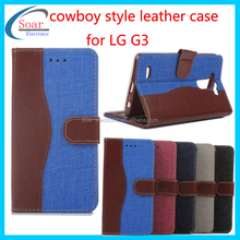 New product wallet cowboy leather case for LG,Jean leather case for LG G3