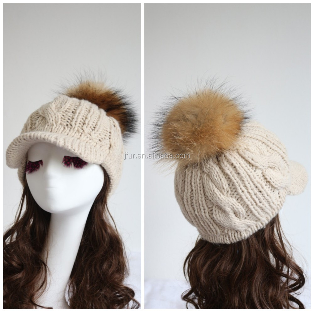 Women's Hat Beige Solid Raccoon Fur Pompom Handmade Crochet Acrylic Yarn