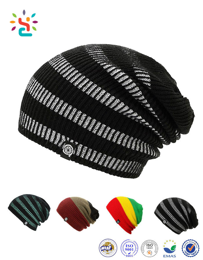 Factory Wholesale Custom Knitted Toque Winter Beanie Jamaica Knitted Rasta Hat Double Layered Beanies