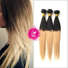 Factory for 18inch straight human hair weave ombre hair extensions,virgin Brazilian human hair with lace closure