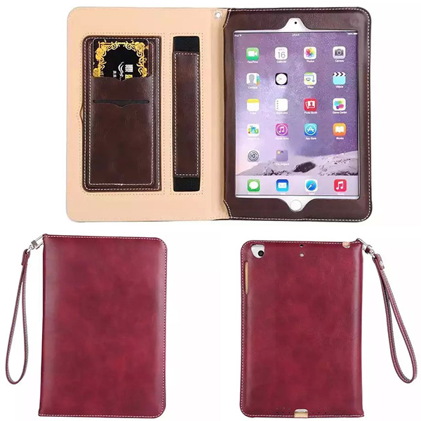 With The Rope Business Card Slot Leather Case Smart Cover for iPad Mini 4