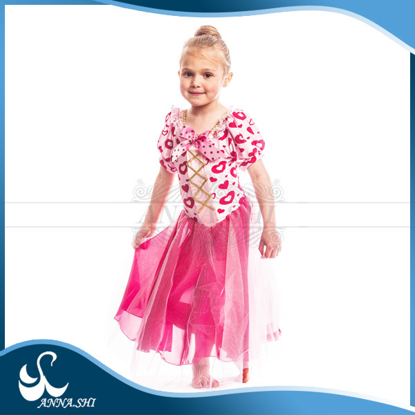 Spandex Fashion heart printed modern dance dress with puff sleeves for little girl