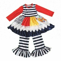Spring summer new style baby boutique clothing fashion children pure colour cotton tops and stripe ruffle pants suit