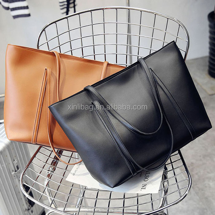 Alibaba china Factory larger capacity simple PU soft leather should bag ladies handbag