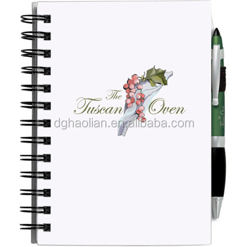 Offset printing chipboard cover wire-o notebook with pen