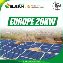 Bluesun 20kw grid tie solar panel kit system with A grade panels