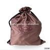 Chocolate brown embroidered taffeta silk drawsring bag