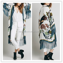 Bohemian style Casual print floral Loose Blouse fashion Women's fringed kimono cardigan