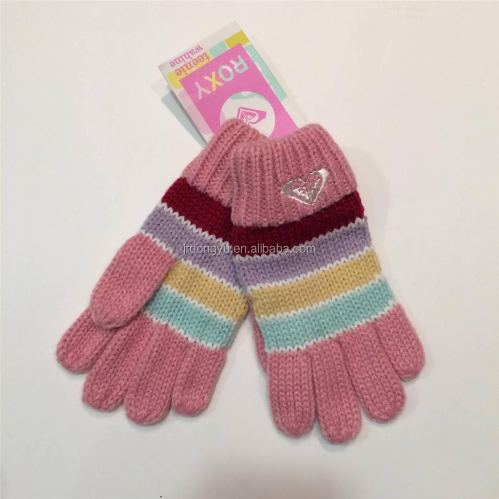 custom cheap embroidered knitted stripe glove