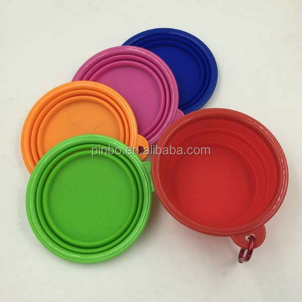 Pocket Foldable dog bowl rubber ring with Carabiner Clip