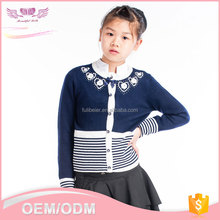 New design Korean model round neck cute fancy knitted spring woolen sweater for girls