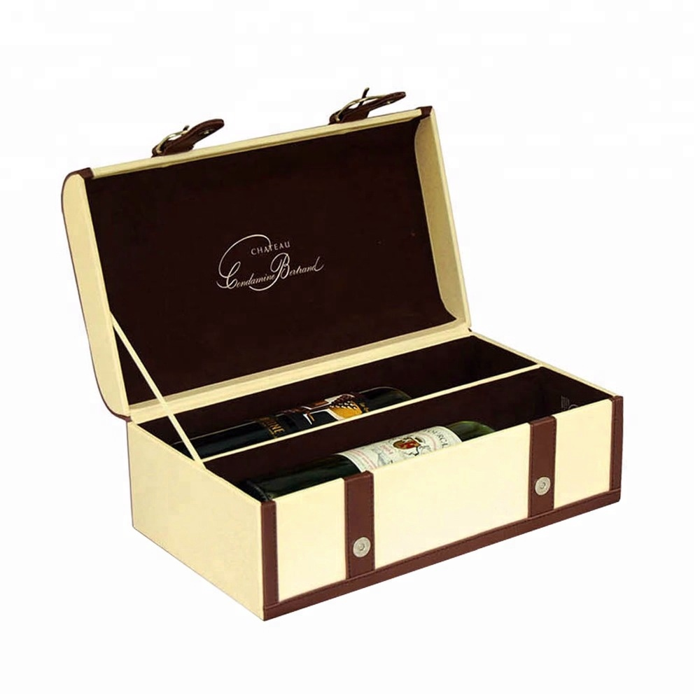 New design folding faux leather wine storage gift box