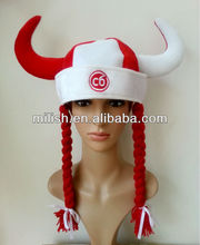 party red & white viking pirate hat with braids /promotional custom hats MH-1562