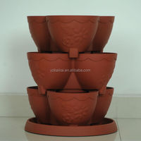 terracotta plastic vertical tower garden stackable pots