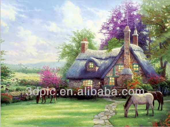 Beautiful house decorative 3d picture of natural scenery