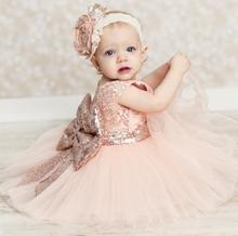 X60404A Baby Girl Summer Layered Tutu Dress Kids Sleeveless Hollow Out Back Bow Sequined Dresses
