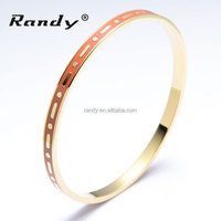 18K Gold Plated Stainless Steel Bracelet Colorized Ladies Enamel Bangles