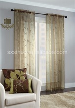 Wholesale high quality flower embroidered organza curtain