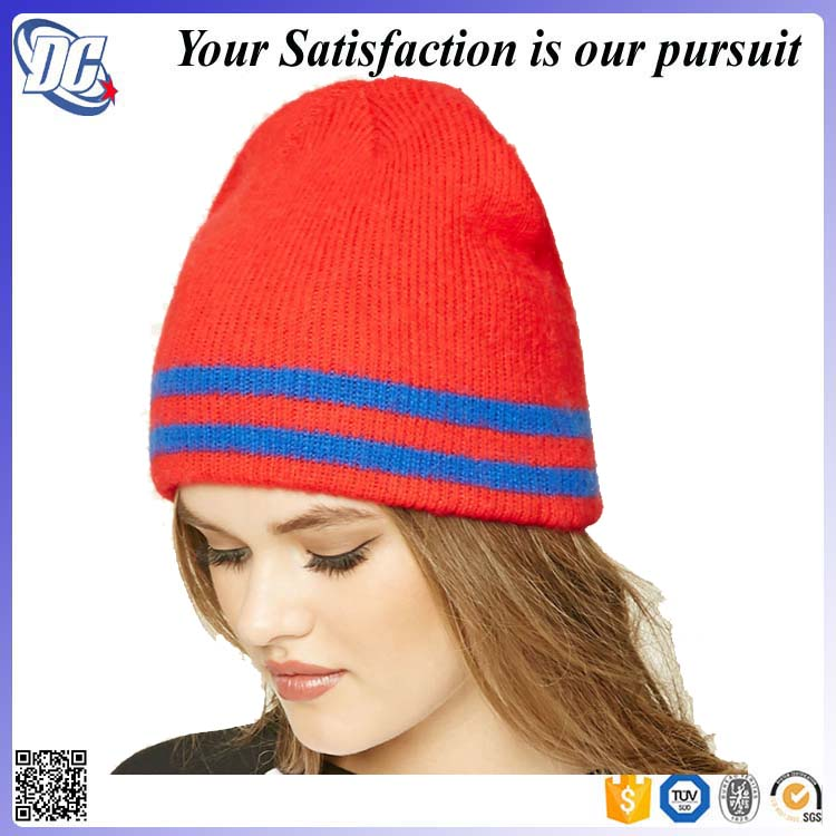 Ladies women Red Winter hat Blank plain Striped Ribbed Knit Beanie