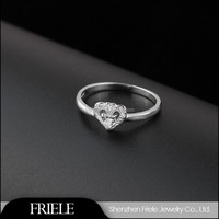 2015 fashion trend sweet heart design jewelry high end 925 silver ring