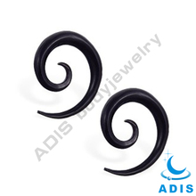 New style black acrylic ear spiral jewelry piercing ear rings wholesale