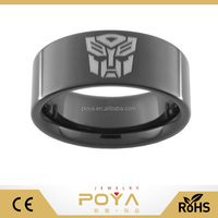 POYA Jewelry Black Tungsten Carbide Transformers Autobot Ring
