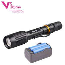 Aluminium high power xml t6 led flashlight tactical torch 1000m long range waterproof fast track 1000 2000 lumen manual recharge