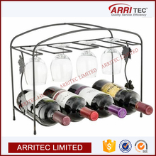 wine liquor bottle glass goblet display storage stand metal kitchen organizer wall mount shelving