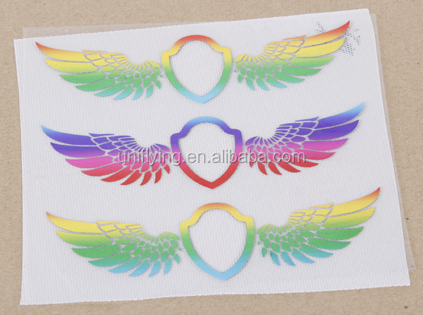 Hotsell Eco-Friendly Shinning Rainbow Angel Wing Foil Heat Transfer Iron On For Garment