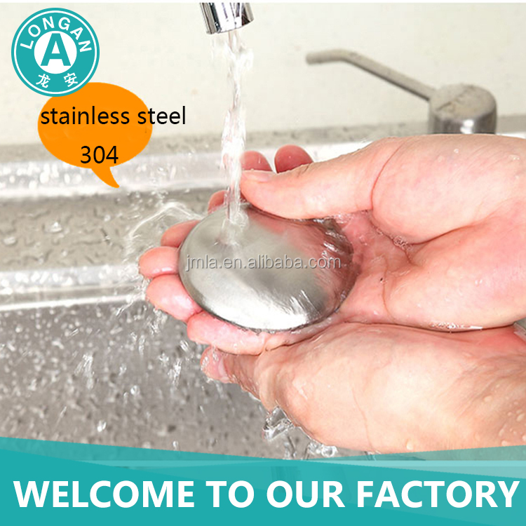 free sample 304 stainless steel round shape mini hand eliminator odor removing stainless steel soap bar