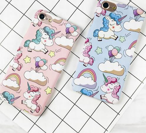 Cute Rainbow Horse Phone Case For iphone 6 6S 7 7 8 Plus Matte Hard Plastic Back Cover Capa Coque