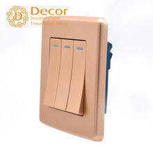 BS British style 86*86mm 10A golden painted 3-gangs three gangs electrical wall switch