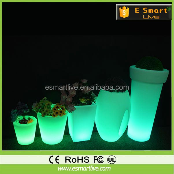 LED large and tall flower pots /led plastic hanging flower pot plant led light foam flower pot