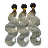Alibaba Top quality Silver color human hair ombre two tone indian remy gray colored hair weaving, gray human hair