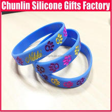 promotional cute ainimal footprint debossed Silicone Bracelets