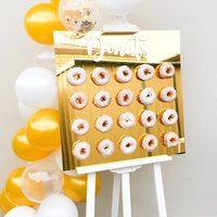 Creative Customized Gold Mirror Acrylic Donut Wall Square Donut Sign Stand
