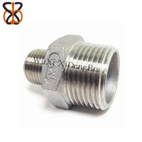 Pipe 304 stainless steel casting hexagonal connector with different diameter double end