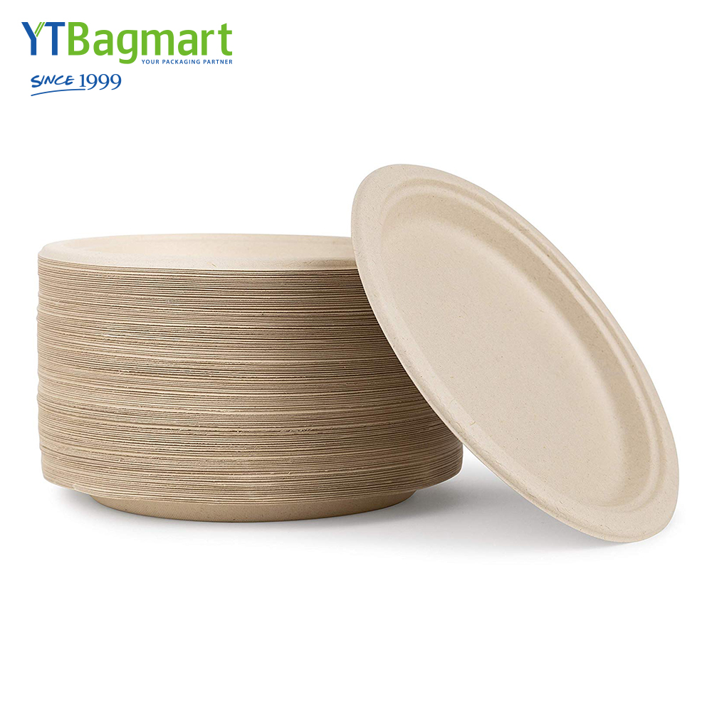 "YTBagmart 9"" Natural Disposable Plates Sugarcane Bagasse Containers Compostable Paper Plate"