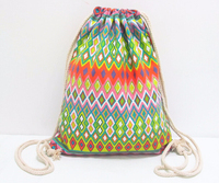 Most Popular Best Selling See Through Canvas Leather Drawstring Bag