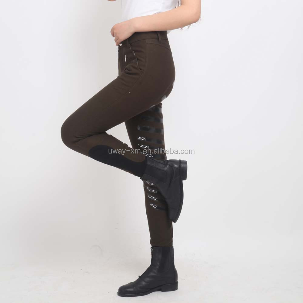 Coffee color silica gel leather horse riding jodhpurs