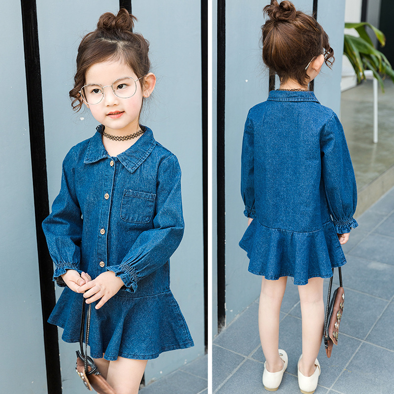 2017 Spring Baby Girl Long Sleeve denim Dress With Pattern for girls of 2-7 years old