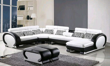 Hotel sofas Modern U-shaped corner sofa set with a cup holder, Top Grain Leather but Low Price Sofa Set 8065-2
