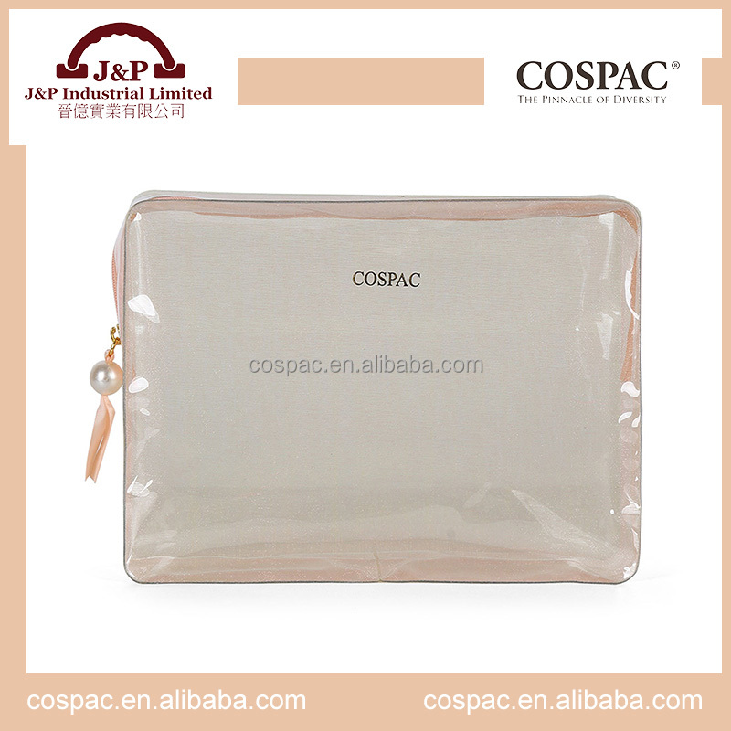 Beauty clear travel PVC cosmetic bag with zipper